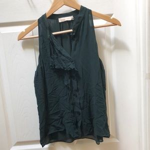 Tory Burch Hunter Green Silk Tank Top